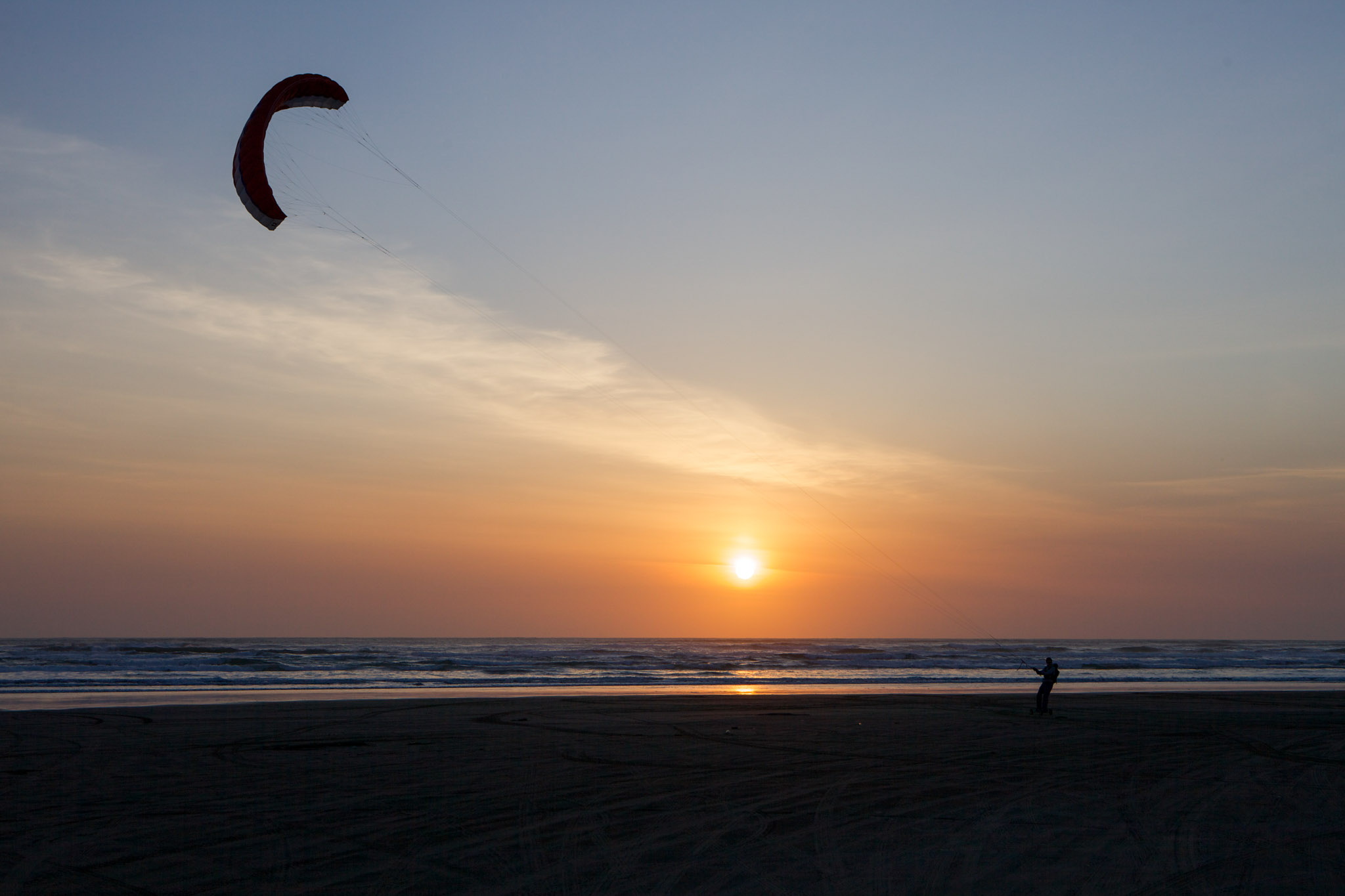 Kite boarding in the sunset