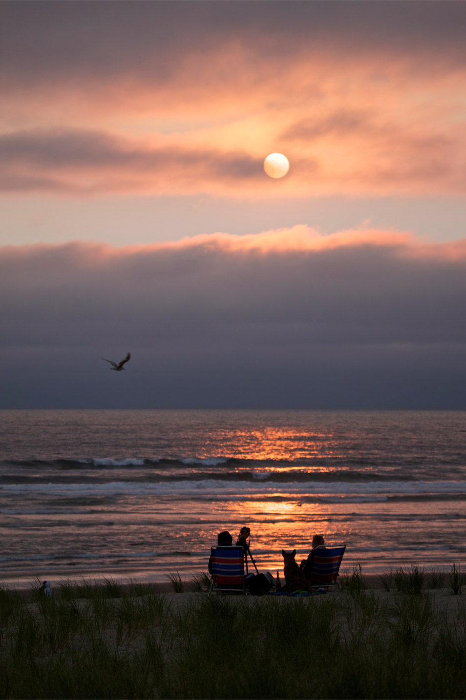 Enjoying the sunset in Seaside, Oregon