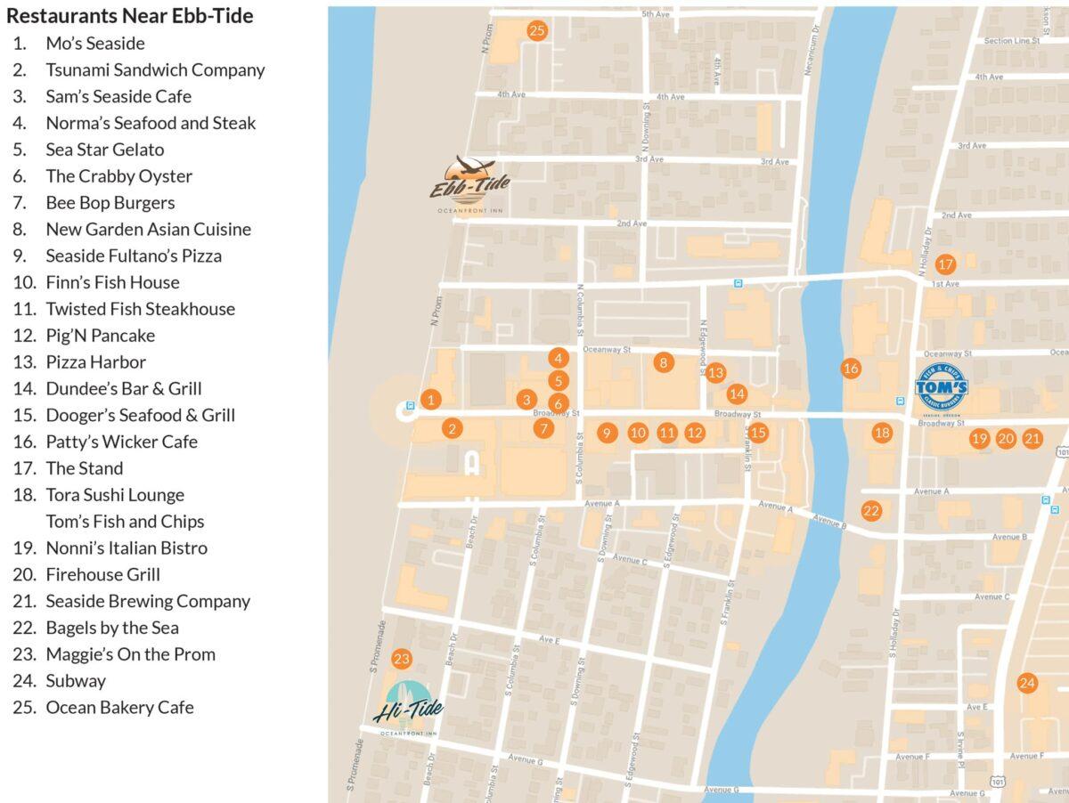 Ebb-Tide Oceanfront Inn Seaside Map
